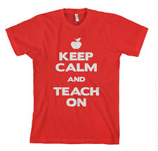 KEEP CALM AND TEACH ON Red Unisex Adult T-Shirt Tee Top