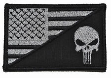 PUNISHER Skull USA Flag Military Morale - Large Hat / Chest Patch 3.5x2.25