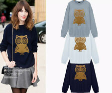 U Fashion Women Owl Print Long Sleeve Pullovers Hoodies Sweats Top Blouses Shirt