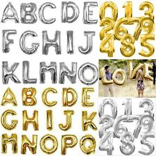 "16"",40"" GOLD,SILVER BIRTHDAY WEDDING PARTY DECORATION FOIL LETTER NUMBER BALLOON"