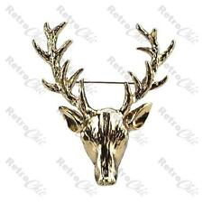 "2""LARGE vintage silver STAG fashion BROOCH pin BIG ANTLERS deer ELK head ANIMAL"