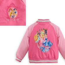 NWT Genuine Disney Store Princess Varsity Jacket Quilted Lining girl size 4, 5/6