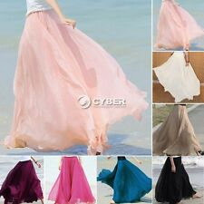 Womens Double Layer Chiffon Pleated Retro Long Maxi Dress Elastic Waist Skirt