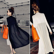 Boho See Through Chiffon Splice Long Maxi Open Cardigan Shirt Jacket Kimono Coat