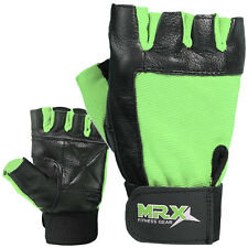 Weight Lifting Gloves Leather Exercise Gym Training Fitness Glove Black Green
