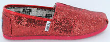 Toms Youth Kids Red Glitter Classic SALE