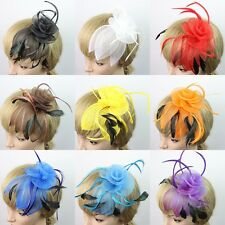 Lady Women Hair Clip Head Flower Feather Hairpin Fascinator Wedding Party Decor