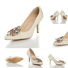 Ivory Pearl Crystal Woman High Stiletto Heels Pumps Evening Prom Bridal Shoes