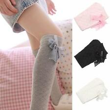 Kids Girls Cotton Socks Tights School High Knee Gridding Bow Stockings 1-7Y A85