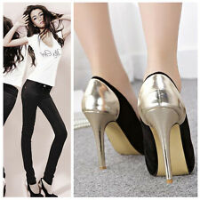 Women Pointed-Toe Splicing White Black Leather High Stiletto Heel Gold Shoes 7.5