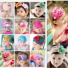 1Pc Pretty Baby Girl Kids Infant  Feather Headband Hair Band Flower Hair Band