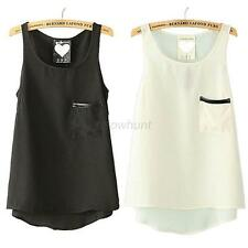 Sleeveless Womens Pocket Solid Tank Top Cami Vest Singlet T-Shirt Blouse 3Colors