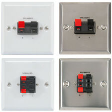 SPEAKER WALL PLATE 4 WIRE / 2 WIRE CABLE FACEPLATE SOCKET CONNECTION - WHI/SIL