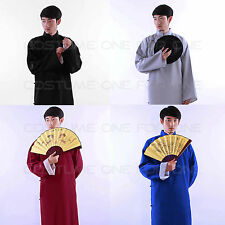 New Chinese Mens Ancient Mandarin Robe Long Gown Ip Man Costume Stage Dress