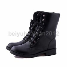 Womens Combat Style Army Worker Military Ankle Boots Flat Heels Punk Boots Shoes