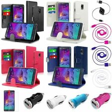 Flip Cover Leather Wallet Stand Case+Cord+Charger+Film For Samsung Galaxy Note 4