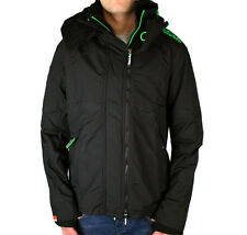 Superdry Jacket Hooded Popzip Technical Windcheater Coat  S-XXL  Black / Green