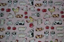FARM ANIMAL FABRIC GREEN,BLUE,OR PINK BACKGROUND  FAT QUARTERS