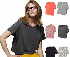 Bella Ladies Size S-XL Flowy Boxy Cropped Crewneck T-Shirt Womens Tee  8881