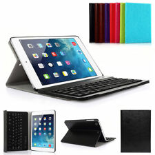 For iPad Mini 2 Silicone ABS Bluetooth Keyboard Folio Leather Case Cover Gift