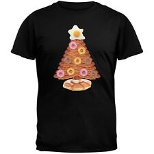 Breakfast Bacon And Eggs Christmas Tree Black Adult T-Shirt Top