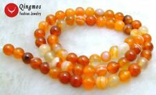 "6mm Round Orange Stripe Agate Beads for Jewelry Making Necklace Strand 15""-610"