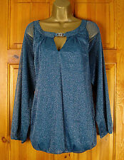NEW EVANS LADIES TEAL BLUE GREEN SILVER SPARKLY STRETCHY SUMMER TUNIC PARTY TOP
