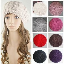 New Warm Winter Women Beret Braided Baggy Knit Crochet Beanie Hat Ski Cap