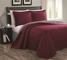 NEW Queen King Bedspread Coverlet Quilt 3pc Set Reversible Taupe Brown Burgundy