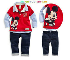 Red Lapel Long Sleeve Shirt Pants 2pcs Cartoon Mickey Baby Kids Boys Outfits set
