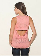 NWT GUESS Lacy Sleeveles Burnout Tank Top  Tee T Open back lace L 8 9