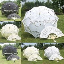 Beautiful Lace Parasol Umbrella Hand Fan For Bridal Wedding Decoration