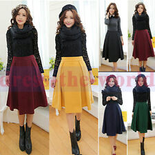 Vintage Women Winter Spring Slim Zipper Empire Waist Pleated A Line Wool Skirt