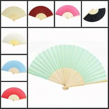 12pcs* Bamboo Silk Fan Hand Folding Fans Outdoor Wedding Party Favors Gifts