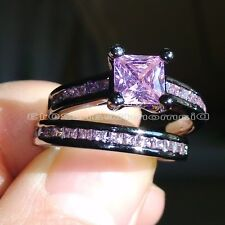 Sz 5-11 Jewelry 10kt black gold filled Pink topaz women  Wedding Ring set gift