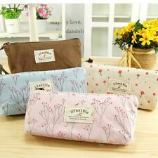 Vintage Flower Floral Pencil Pen Case Cosmetic Makeup Bag Storage Pouch Purse