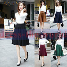 Women Winter Spring Slim Zipper Empire Waist Large Hem Wool A Line Puff Skirt