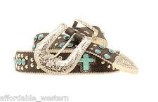 TURQUOISE CROSS ~ Nocona LEATHER Western BELT~ SILVER Crystal COWGIRL N35160 14