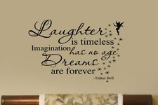 Laughter is Timeles Dreams R Forever Tinkerbell Nursery VInyl Wall Letter Decal