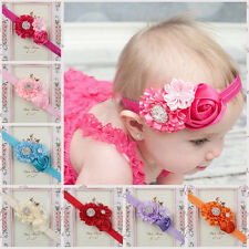 Baby Girls Rhinestone Headband Ribbon Flower Hair Band Head Hair Accessories CC