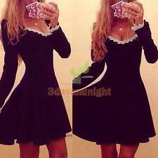 New Women Sexy V-neck Long Sleeve Bodycon Evening Cocktail Party Mini Dress NIGH