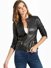GUESS Rossy Quilted Faux-Leather Jacket