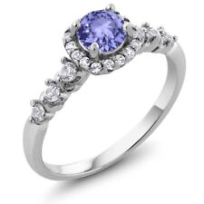 0.88 Ct Round Blue Tanzanite White Topaz 925 Sterling Silver Ring