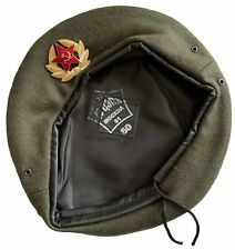 USSR Soviet Russian Army Style Khaki Military Beret Hat Cap Special Force Badge