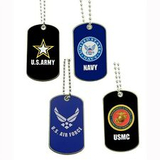 Military Dog Tag Army Navy Marines Air Force Neck Chain Pendant Necklace Key Tag