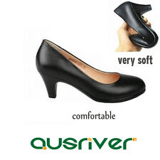 Women Black Work OL Casual Mid Heels Pumps Pointed Toe Shallow Court Shoes Lady