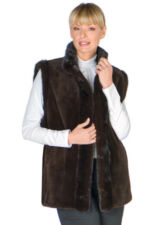 Sheared Mink Vest Reversible to Fabric Brown