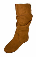 Trunk! Soda Women's Cuff Mid Calf Semi Slouchy Flat Boot British Tan Faux Suede