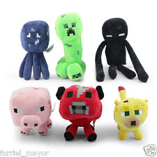 MINECRAFT LOTE 6 PELUCHES PLUSH ENDERMAN CREEPER CALAMAR CERDO OCELOTE MOOSHROOM