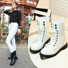 Women Punk Knight Military Army Lace-up Short Martin Boots Flat Shoes US Stock